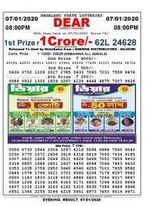 Lottery Sambad 7-1-2020 evening result