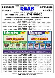 lottery sambad West Bangal state 4:00 PM lottery result