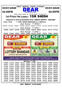 Lottery Sambad 4:00 PM result 03-01-2020