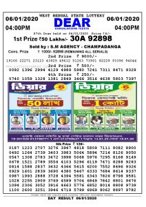 Lottery Sambad West Bangal 6.1.2020 Result today 4:00 PM