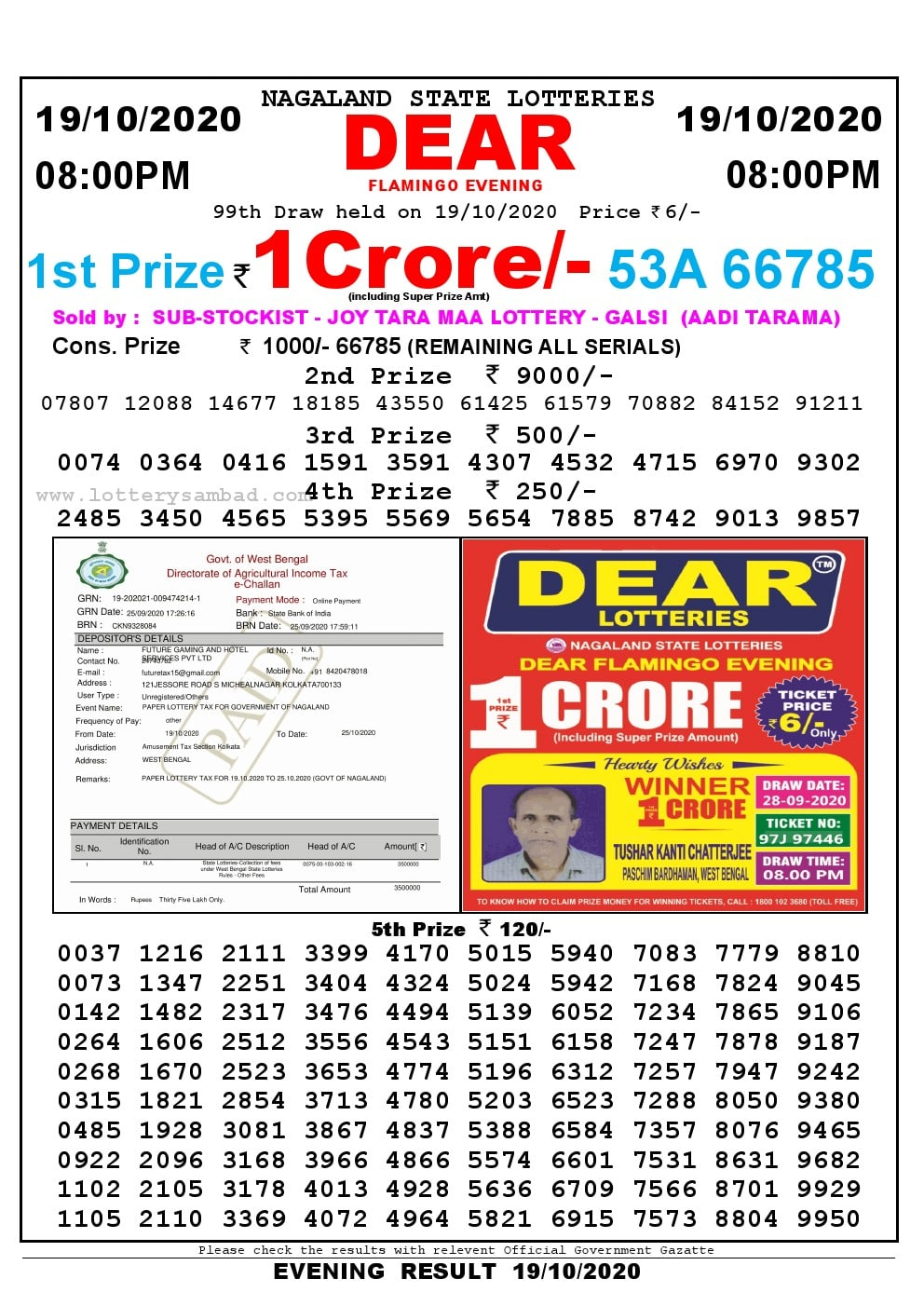Lottery Sambad Live Result 8pm 19/10/2020 Evening Nagaland State Lottery Result Pdf Download