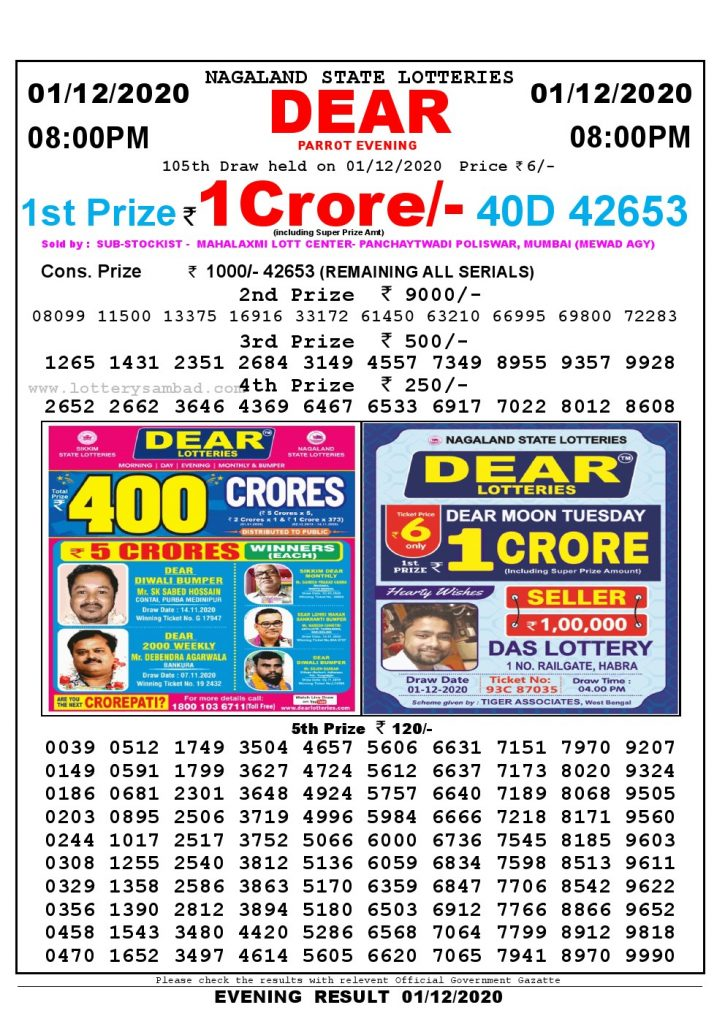 Lottery Sambad Live Result 8pm 16/10/2020 Evening Nagaland State Lottery Result Pdf Download