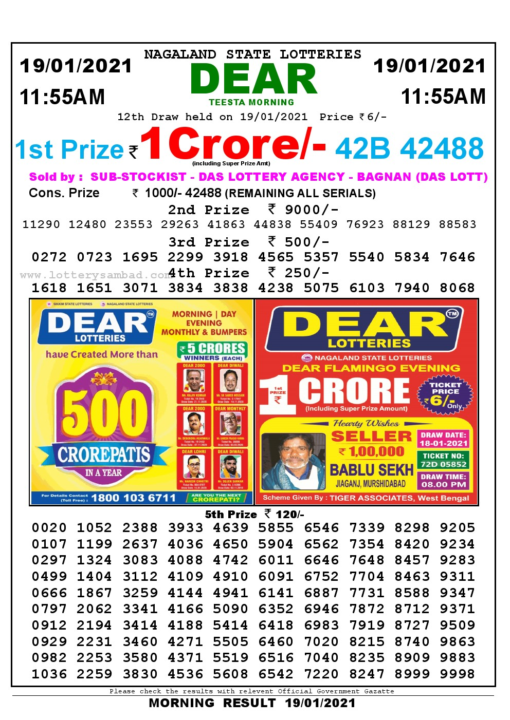 Lottery Sambad 11:55 am 19/01/2021 Morning Sikkim State Lottery Result Pdf Download