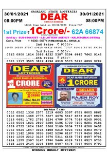 Lottery Sambad Live Result 8pm 30/01/2021 Evening Nagaland State Lottery Result Pdf Download