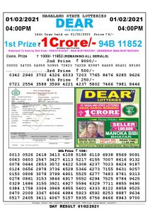 Lottery Sambad Live today 4pm 01/02/2021 Nagaland State Lottery Result Pdf File Download