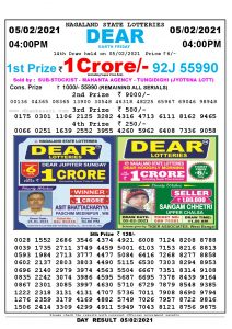 Lottery Sambad Live today 4pm 05/02/2021 Nagaland State Lottery Result Pdf File Download