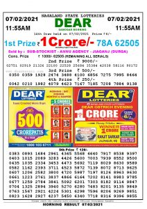 Lottery Sambad 11:55 am 07/02/2021 Morning Sikkim State Lottery Result Pdf Download