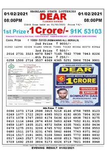 Lottery Sambad Live Result 8pm 01/02/2021 Evening Nagaland State Lottery Result Pdf Download
