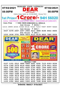 Lottery Sambad Live Result 8pm 07/02/2021 Evening Nagaland State Lottery Result Pdf Download