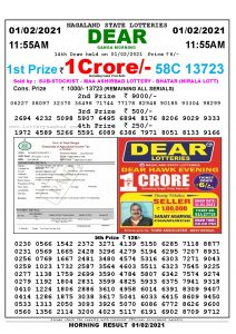 Lottery Sambad 11:55 am 01/02/2021 Morning Sikkim State Lottery Result Pdf Download