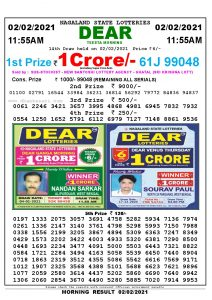 Lottery Sambad 11:55 am 02/02/2021 Morning Sikkim State Lottery Result Pdf Download