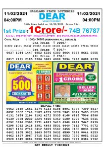 Lottery Sambad Live today 4pm 11/02/2021 Nagaland State Lottery Result Pdf File Download