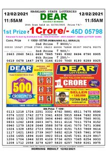 Lottery Sambad 11:55 am 12/02/2021 Morning Sikkim State Lottery Result Pdf Download