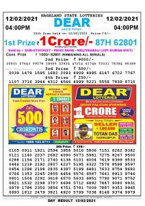 Lottery Sambad Live today 4pm 12/02/2021 Nagaland State Lottery Result Pdf File Download