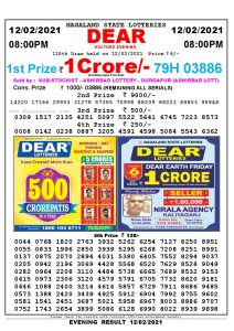 Lottery Sambad Live Result 8pm 12/02/2021 Evening Nagaland State Lottery Result Pdf Download