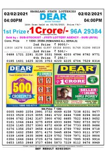 Lottery Sambad Live today 4pm 02/02/2021 Nagaland State Lottery Result Pdf File Download