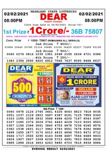 Lottery Sambad Live Result 8pm 02/02/2021 Evening Nagaland State Lottery Result Pdf Download