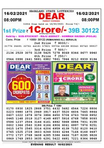 Lottery Sambad Live Result 8pm 16/02/2021 Evening Nagaland State Lottery Result Pdf Download