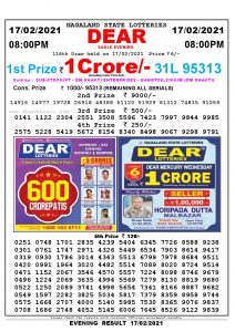 Lottery Sambad Live Result 8pm 17/02/2021 Evening Nagaland State Lottery Result Pdf Download