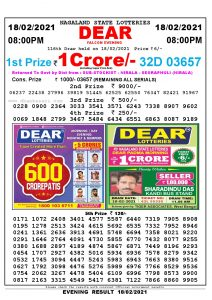 Lottery Sambad Live Result 8pm 18/02/2021 Evening Nagaland State Lottery Result Pdf Download