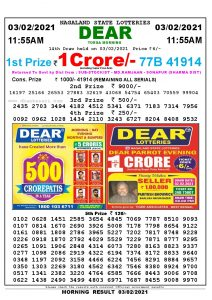 Lottery Sambad 1A1:55 am 03/02/2021 Morning Sikkim State Lottery Result Pdf Download