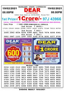 Lottery Sambad Live Result 8pm 19/02/2021 Evening Nagaland State Lottery Result Pdf Download