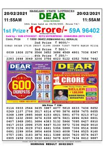 Lottery Sambad 11:55 am 19/02/2021 Morning Sikkim State Lottery Result Pdf Download