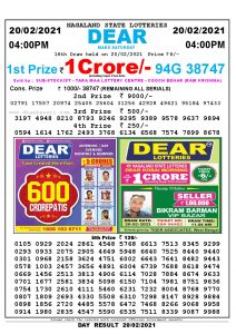 Lottery Sambad Live today 4pm 20/02/2021 Nagaland State Lottery Result Pdf File Download