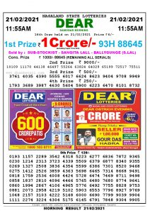 Lottery Sambad 11:55 am 21/02/2021 Morning Sikkim State Lottery Result Pdf Download