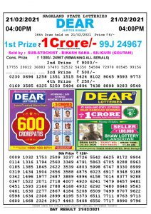 Lottery Sambad Live today 4pm 21/02/2021 Nagaland State Lottery Result Pdf File Download