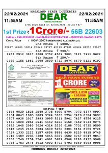 Lottery Sambad 11:55 am 22/02/2021 Morning Sikkim State Lottery Result Pdf Download