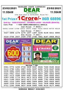 Lottery Sambad 11:55 am 23/02/2021 Morning Sikkim State Lottery Result Pdf Download