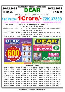 Lottery Sambad 11:55 am 26/02/2021 Morning Sikkim State Lottery Result Pdf Download