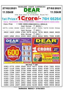 Lottery Sambad 11:55 am 27/02/2021 Morning Sikkim State Lottery Result Pdf Download