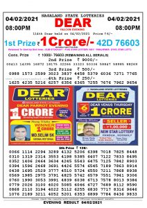 Lottery Sambad Live Result 8pm 04/02/2021 Evening Nagaland State Lottery Result Pdf Download