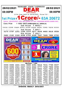 Lottery Sambad Live Result 8pm 28/02/2021 Evening Nagaland State Lottery Result Pdf Download