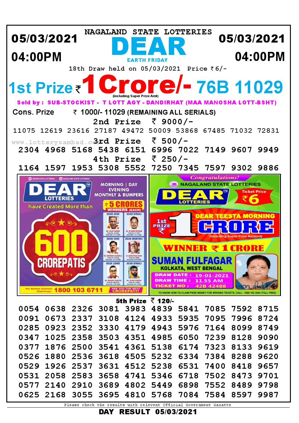 Lottery Sambad Live today 4pm 05/03/2021 Nagaland State Lottery Result Pdf File Download