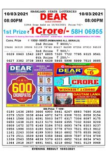 Lottery Sambad Live Result 8pm 10/03/2021 Evening Nagaland State Lottery Result Pdf Download