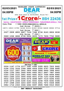 Lottery Sambad Live today 4pm 02/03/2021 Nagaland State Lottery Result Pdf File Download