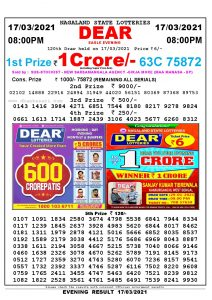 Lottery Sambad Live Result 8pm 17/03/2021 Evening Nagaland State Lottery Result Pdf Download