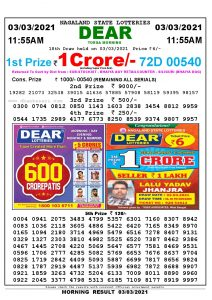 Lottery Sambad 11:55 am 03/03/2021 Morning Sikkim State Lottery Result Pdf Download
