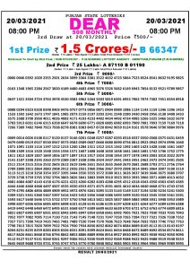Punjab State Lottery Result Today 20/03/2021 Dear 500 Monthly 8pm lOTTERY