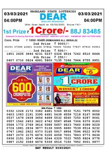 Lottery Sambad Live today 4pm 03/03/2021 Nagaland State Lottery Result Pdf File Download