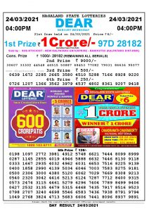 Lottery Sambad Live today 4pm 24/03/2021 Nagaland State Lottery Result Pdf File Download