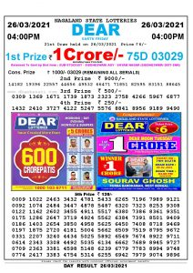 Lottery Sambad Live today 4pm 26/03/2021 Nagaland State Lottery Result Pdf File Download