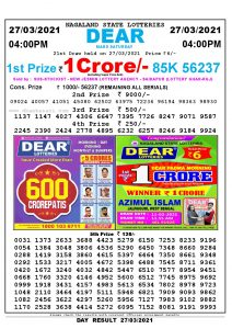 Lottery Sambad Live today 4pm 27/03/2021 Nagaland State Lottery Result Pdf File Download