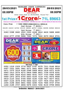 Lottery Sambad Live Result 8pm 28/03/2021 Evening Nagaland State Lottery Result Pdf Download