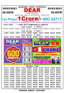 Lottery Sambad Live Result 8pm 30/03/2021 Evening Nagaland State Lottery Result Pdf Download