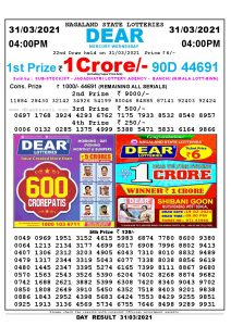 Lottery Sambad Live today 4pm 31/03/2021 Nagaland State Lottery Result Pdf File Download