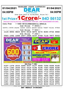 Lottery Sambad Live today 4pm 01/04/2021 Nagaland State Lottery Result Pdf File Download